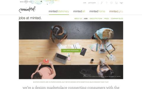 Screenshot of Jobs Page minted.com - Jobs at Minted: Social Commerce in San Francisco | Minted - captured Dec. 1, 2015