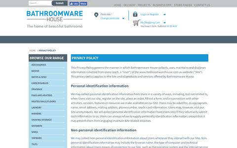 PRIVACY POLICY | Bathroomware House