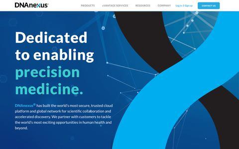 Screenshot of Home Page dnanexus.com - DNAnexus - captured May 16, 2019