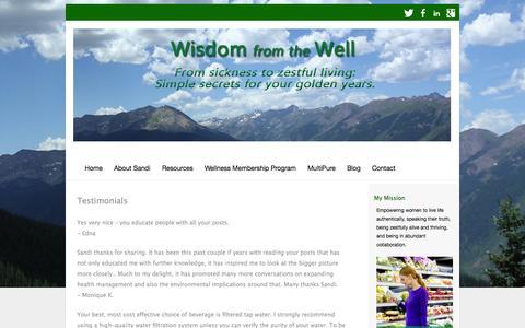 Screenshot of Testimonials Page wisdomfromyourwell.com - Testimonials | Wisdom From Your Well - captured Oct. 1, 2014