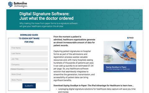 Screenshot of Landing Page bottomline.com - Digital Signature Software for Healthcare - Just what the doctor ordered - captured April 4, 2017