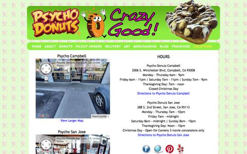 Screenshot of Locations Page psycho-donuts.com - Psycho Donuts - CONTACT - captured Sept. 30, 2014