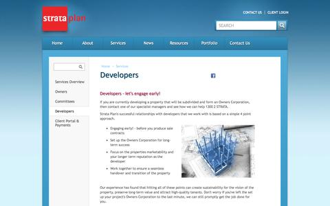 Screenshot of Developers Page strataplan.com.au - Strata Plan - Developers - captured Oct. 7, 2014