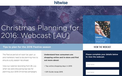 Screenshot of Landing Page connexity.com - Hitwise | Christmas Planning Webcast - captured Nov. 4, 2016