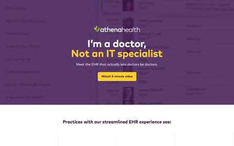 Screenshot of Landing Page athenahealth.com - athenaClinicals® | athenahealth - captured Sept. 24, 2016