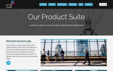 Screenshot of Products Page c2software.com - Business Transformation Products from C2 Software - captured July 14, 2018