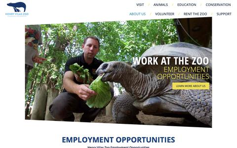 Screenshot of Jobs Page vilaszoo.org - Work At The Zoo - Henry Vilas Zoo - captured Nov. 10, 2018