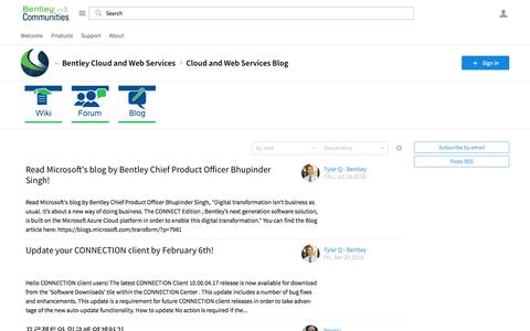 Cloud and Web Services Blog - Bentley Cloud and Web Services - Bentley Communities