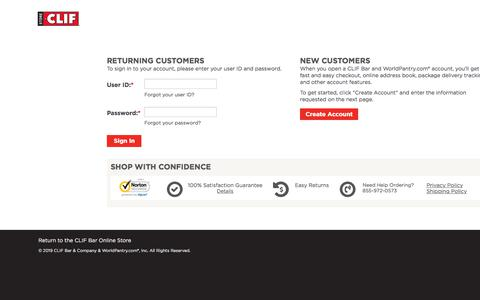 Screenshot of Login Page worldpantry.com - CLIF Bar - Sign In for Returning Customer or Create Account for New Customers - captured Sept. 20, 2019