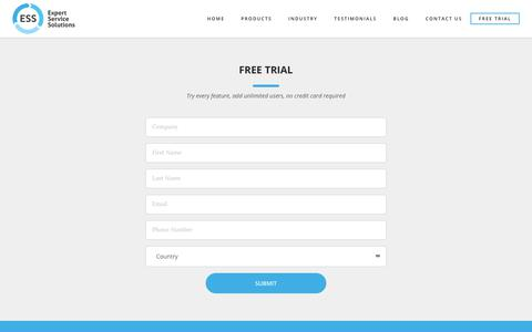 Screenshot of Trial Page expertservicesolutions.com - Free trial   Expert Service Solutions - captured Sept. 30, 2018