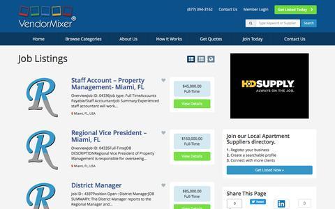 Screenshot of Jobs Page vendormixer.com - Local Business Job Listings - Find Local Apartment Suppliers Job Listings - captured Dec. 19, 2016