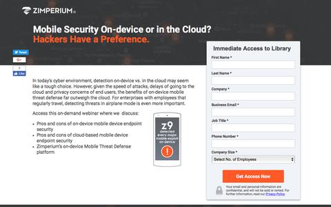 Screenshot of Landing Page zimperium.com - Mobile Security: On-Device or in the Cloud? - captured Sept. 19, 2018