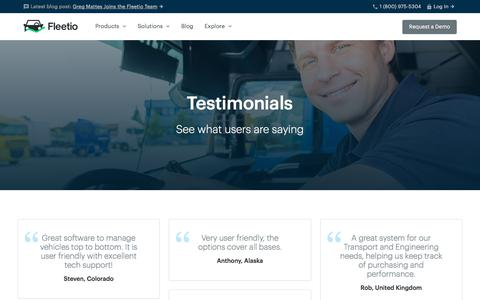 Screenshot of Testimonials Page fleetio.com - Fleetio Reviews & Testimonials - captured Jan. 23, 2018