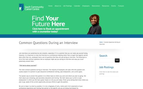 Screenshot of FAQ Page saultcareercentre.ca - Common Questions During an Interview | Sault Community Career Centre - captured Oct. 4, 2014