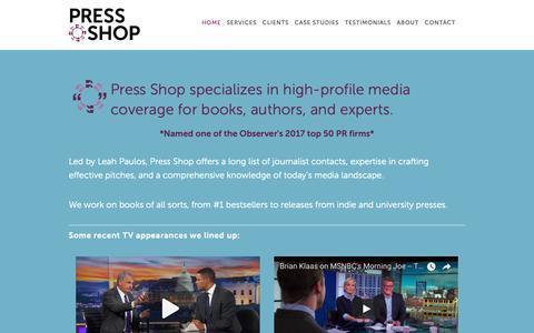 Screenshot of Home Page pressshoppr.com - Press Shop - captured Nov. 5, 2018