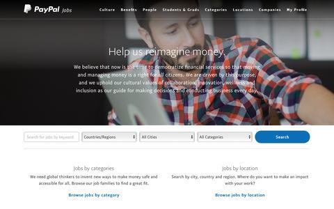 Screenshot of Jobs Page paypal.com - PayPal Jobs - PayPal - captured July 20, 2019