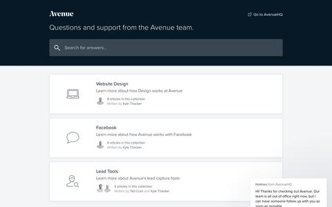 Screenshot of Support Page avenuehq.com - Avenue Support - captured Dec. 5, 2018