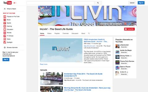 Screenshot of YouTube Page youtube.com - InLivin' - The Good Life Guide  - YouTube - captured Oct. 23, 2014