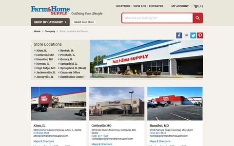 Screenshot of Locations Page farmandhomesupply.com - Store Locations and Hours - captured Sept. 22, 2018