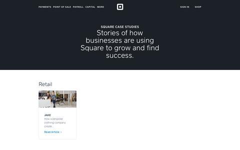 Screenshot of Case Studies Page squareup.com - Square Case Studies - captured Feb. 14, 2018