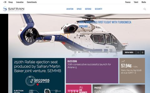 Screenshot of Home Page safran-group.com - Safran is a leading international high-technology group. - captured Jan. 29, 2016