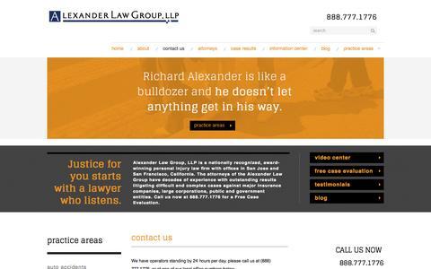 Screenshot of Contact Page alexanderinjury.com - Contact Us | Alexander Law Group | San Jose | San Francisco - captured Oct. 4, 2014