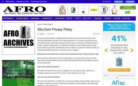 Screenshot of Privacy Page afro.com - Afro.Com Privacy Policy | Afro - captured Oct. 31, 2014