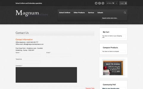 Screenshot of Contact Page magnumenterprises.co.uk - Magento Commerce - captured Oct. 4, 2014