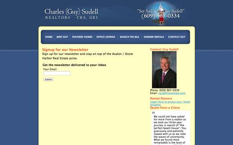 Screenshot of Signup Page guysudell.com - Signup for the Guy Sudell Newsletter - captured Oct. 5, 2014