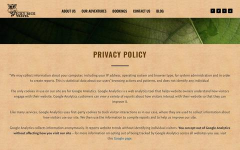 Screenshot of Privacy Page stickyricetravel.com - Privacy Policy | Sticky Rice Travel - captured Aug. 19, 2018