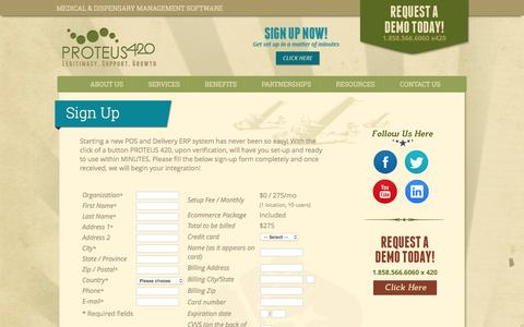Screenshot of Signup Page proteus420.com - PROTEUS420, The enterprise class Inventory, Client, POS and Delivery management system for Medical Marijuana Dispensaries WorldWide. - captured July 16, 2016