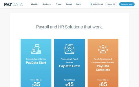 Screenshot of Pricing Page paydata.com - Pricing - PayData - captured Sept. 27, 2018