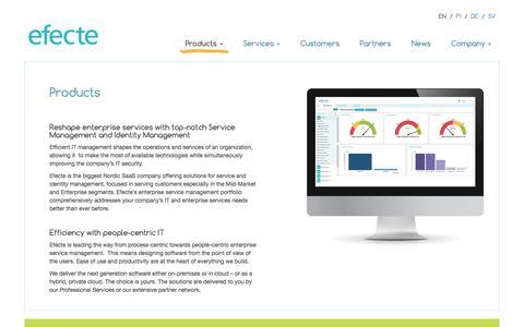Screenshot of Products Page efecte.com - Identity and IT Service Management (ITSM) softwares   Efecte - captured Oct. 28, 2016