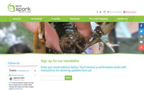 Screenshot of Signup Page ecospark.ca - MailingList | EcoSpark - captured July 15, 2017