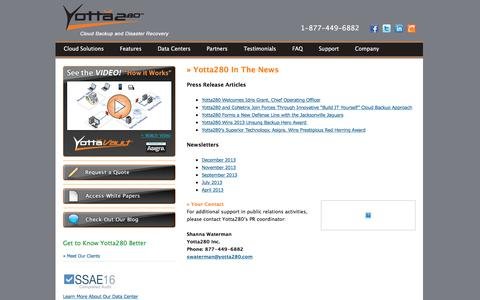 Screenshot of Press Page yotta280.com - Yotta280, Data Backup, Data Storage, Data Recovery - captured Nov. 1, 2017