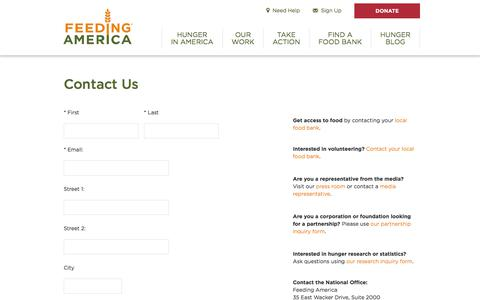 Screenshot of Contact Page feedingamerica.org - Contact Us - Feeding America - captured Jan. 12, 2020