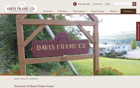 Screenshot of Maps & Directions Page davisframe.com - Directions to Davis Frame | Prefab Timber Frame House Plans - captured Nov. 24, 2016