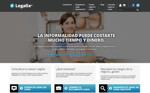 Screenshot of Home Page legalix.com - Abogados empresariales por Internet - captured July 20, 2015