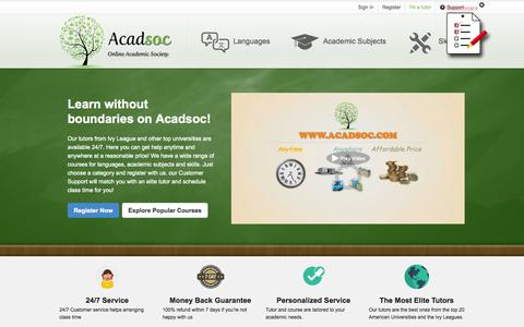 Screenshot of Home Page acadsoc.com - Acadsoc Online Tutoring-Online Tutorial and Online Education Society - captured Sept. 25, 2014