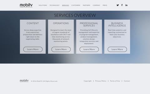 Screenshot of Services Page mobitv.com - MobiTV - captured Feb. 19, 2016