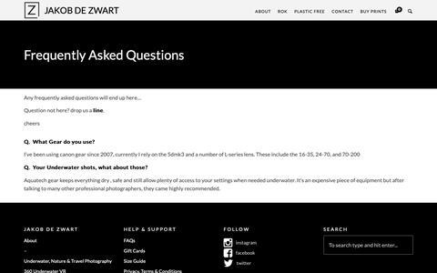 Screenshot of FAQ Page jakobdezwart.com - FAQs - jakob de zwart - captured Oct. 14, 2018