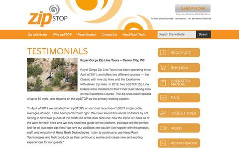 Screenshot of Testimonials Page thezipshop.com - Testimonials   zipSTOP Zip Line Brake - captured Oct. 7, 2014
