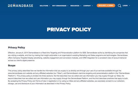 Screenshot of Privacy Page demandbase.com - Account-Based Marketing – Demandbase | Privacy Policy :: Account-Based Marketing – Demandbase - captured June 29, 2017