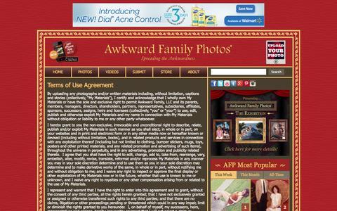 Screenshot of Terms Page awkwardfamilyphotos.com - Terms of Use Agreement «  AwkwardFamilyPhotos.com - captured Sept. 18, 2014