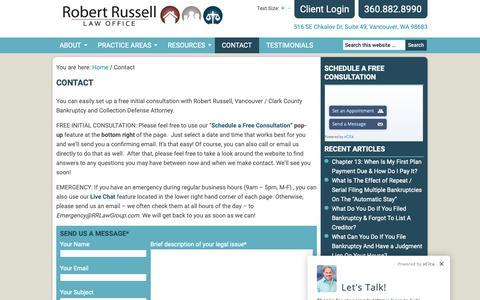 Screenshot of Contact Page robert-russell.com - Contact a Lawyer - Robert Russell Law Office - captured Nov. 15, 2018