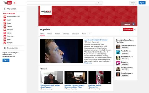 Screenshot of YouTube Page youtube.com - Appsbee  - YouTube - captured Oct. 23, 2014