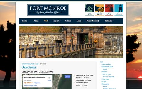 Screenshot of Maps & Directions Page fmauthority.com - Directions | Fort Monroe Authority - captured Oct. 6, 2014