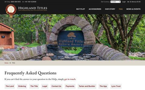 Screenshot of FAQ Page highlandtitles.com - FAQ - Highland Titles - captured Sept. 28, 2018