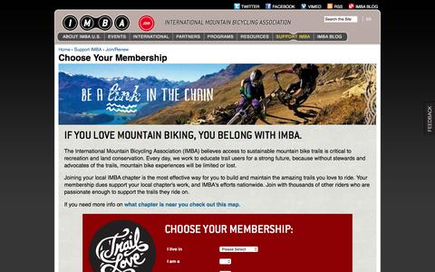 Screenshot of Signup Page imba.com - Choose Your Membership | International Mountain Bicycling Association - captured Jan. 20, 2016
