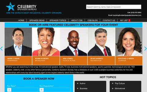 Screenshot of Home Page celebrityspeakersbureau.com - Celebrity Keynote Motivational Speakers | Book or Hire Celebrity Speaker - captured Dec. 14, 2018